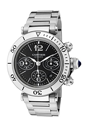 (Cartier Men's Pasha Seatimer Automatic Chronograph Black Dial Stainless Steel)