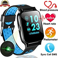 Duperym Smart Watch Fitness Tracker with Blood Pressure Heart Rate Monitor Men Women Activity Tracker Wrist Wearable Watch for Boy Girl Smart Bracelet Sync Call SMS For IOS & Android Halloween Gifts