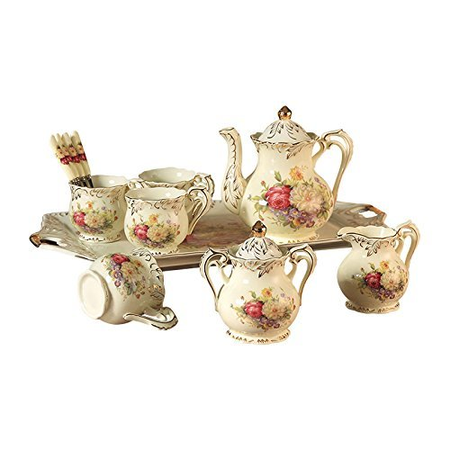ufengke 8 Piece Creative European Luxury Tea Set, Ivory Porcelain Ceramic Coffee Set With Tea Tray, Hand Painted Red And White Rose Flower, For Wedding Decoration ()