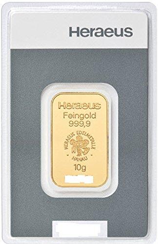 Goldbarren 10g Gramm Heraeus Feingold im Scheckkartenformat