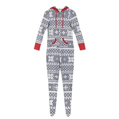 295bd9d8f3 Amazon.com  Meijunter Christmas Pajamas Family Matching Xmas Jumpsuit One  Piece Onesie Gray  Clothing