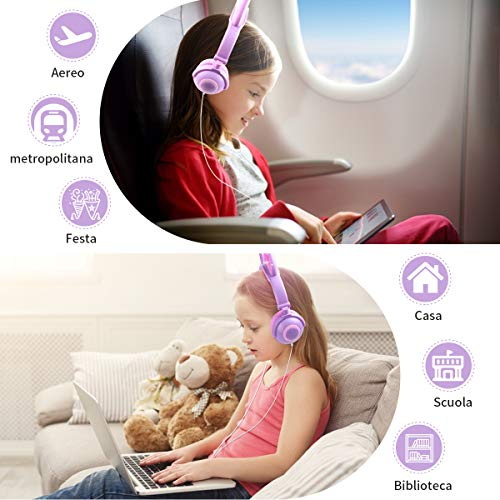 LOBKIN Cuffie per bambini, Cuffie pieghevoli cablate con orecchie di gatto per bambini Ragazzi ragazze, Controllo del volume regolabile da 85 dB, Cuffie da gioco per bambini per scuola/tablet