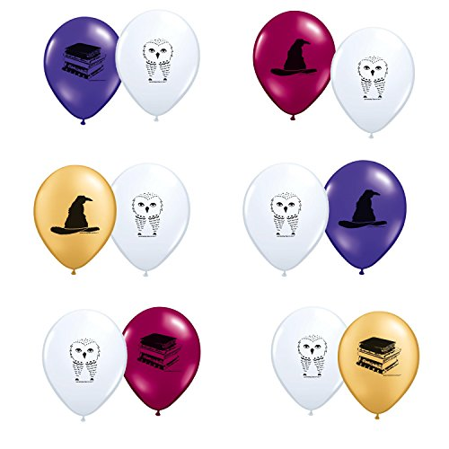 [Harry Potter Theme Latex Balloons 12ct Made in the USA] (Sorting Hat From Harry Potter)
