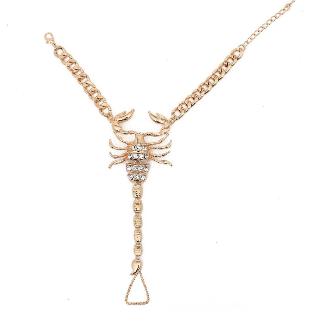 Babysbreath17 Les Femmes Plage Scorpion Cheville Bracelet Fille Strass Cheville Scorpion Scorpion Pieds Cristal Barefoot Sandales Bracelets de Cheville cha/îne Bijoux Lady Pied