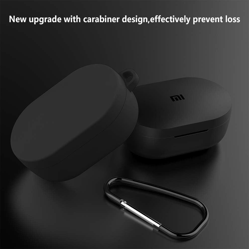 Hianjoo Coque /Étui Protecteur Compatible pour Xiaomi Redmi AirDots Rouge Silicone 2 en 1 avec Mousqueton Protection Case Compatible pour Mi AirDots