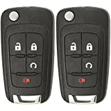 Keyless2Go Replacement Keyless Remote 4 Button Flip Car Key Fob For OHT01060512 (2 Pack)