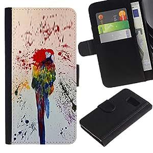 APlus Cases // Samsung Galaxy S6 SM-G920 // Loro colorido pintura salpicaduras la selva tropical // Cuero PU Delgado caso Billetera cubierta Shell Armor Funda Case Cover Wallet Credit Card