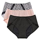 Intimate Portal Women Total Leak Proof Protective Incontinence Briefs 3-pk Black Floral Beige 3XL