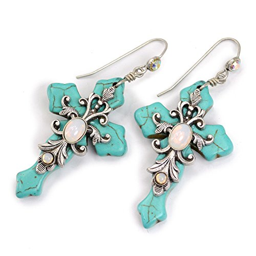 Turquoise Cross Earrings, Confirmation Earrings, Religious Earrings, Cross Jewelry, Confirmation Jewelry