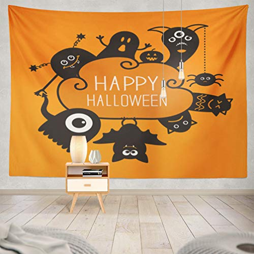 KJONG Halloween-Pumpkin Decorative Tapestry,Happy Halloween Contour Doodle Ghost Pumpkin Spider Monster 60X80 Inches Wall Hanging Tapestry for Bedroom Living Room ()