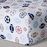 Sports Theme Fitted Cotton Crib Sheet - Football, Baseball, Basketball, Soccer