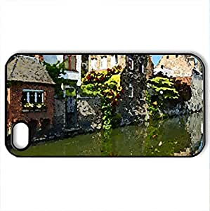 River town - Case Cover for iPhone 4 and 4s (Watercolor style, Black)