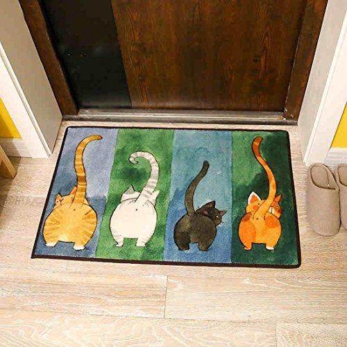 SANNIX Simple Cute Cat Livingroom Rugs Home Essentials Door Mat Bedroom Rugs Bedside Area Rug Creative Foot Mats Non-slip Floor Rugs Carpet(Multi,15.7