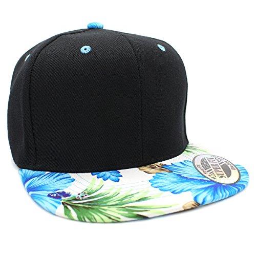 LAFSQ Plain Hawaiian Flower Printed Brim Flat Bill Snapback Cap (White/Turquoise) ()