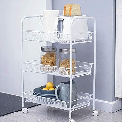 キッチンワゴン キッチン収納カート ユーティリティハンドルが付いている3層のホワイトメタルの網の圧延の貯蔵のカートの台所浴室のための貯蔵のカート キッチンバスルームリビングルーム (Color : White, Size : 43.5x26.5x62.5cm)