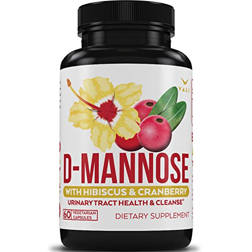 D Mannose Urinary Tract Infection Formula - Triple Strength with Organic Cranberry 50:1 Concentrate & Hibiscus for Healthy Bladder Function, Natural Yeast Cleanse, UTI Support - 60 Veggie Capsules