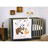 Nojo Little Love 5 Piece Crib Bedding Fox and Bear Set BUNDLE W Musical Mobile & 2 Fox Plush