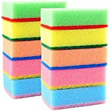 HOME CUBE® Set of 10 Multi-Purpose Cleaning Sponges Scourer - With One Side Absorbent Sponge and Other Side Scouring Pad - ( Random Color )