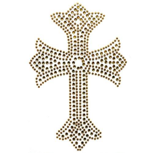 (Rhinestone Iron on Transfer Hot Fix Design Gold Cross 3 Sheets 3.5* 8.2 Inch)