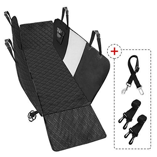 600D Durable Anti-Scratch NonSlip Back Seat Protector for Cars Trucks and SUVs Side Flaps PETDOM Dog Car Seat Covers Hammock Black Waterproof Pet Seat Cover with Mesh Window