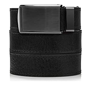 Top Grain Black Leather Belt with Gunmetal Buckle