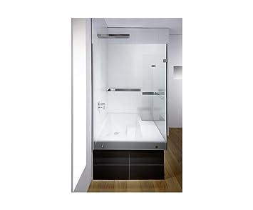 Duschbadewanne stairway  Repabad Stairway Dusch Badewanne 170 Ecke mit Glaswand Wannenträger ...