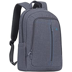 Rivacase 15.6 Inch Laptop Backpack Slim Light Water Resistant Grey Color