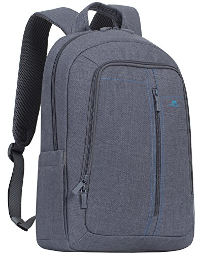 Executive Plus Notebook Case - Rivacase 7560 15.6 Inch Laptop Backpack Slim Light Water Resistant Grey Color