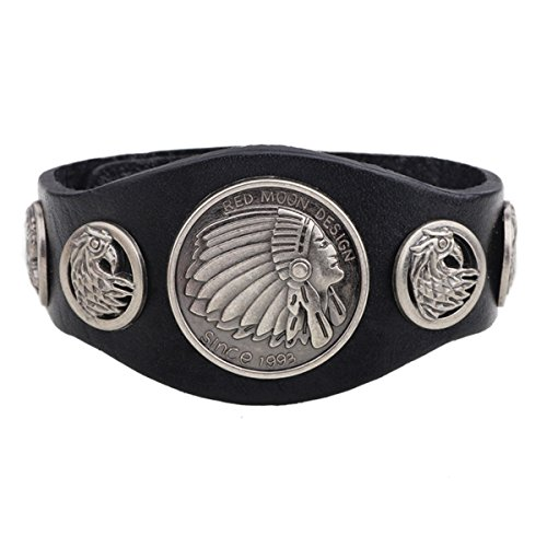- Indian Bracelet Leather Black for Men Jewelry - American Eagle Charm