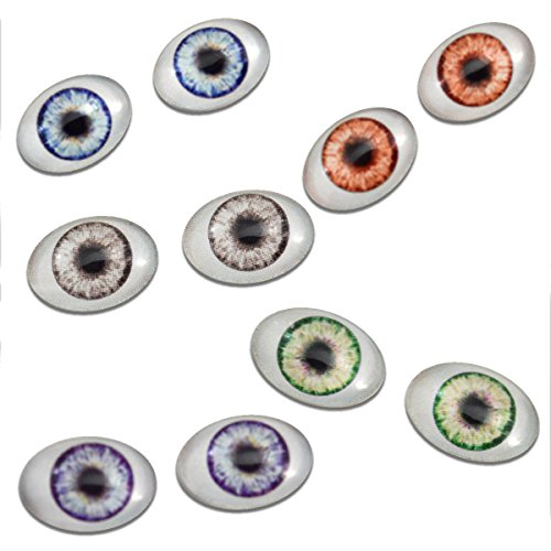 Oval Glass Eyes (13mm x 18mm Doll Oval Glass Eyes 5 Pair Bulk Bundle Fantasy Taxidermy Art Dolls Making Or Jewelry Crafts Set of 2)