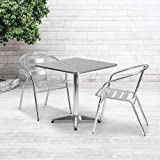Flash Furniture TLH-053-2-GG Square Aluminum Indoor Outdoor Table with Base, 27.5-Feet