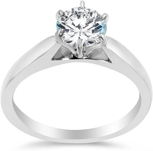 Fine Genuine 1.0Ct Diamond Engagement /& Wedding Rings Sterling Silver