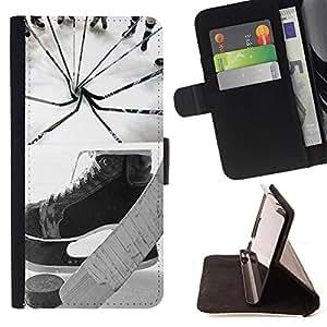 Dragon Case- Caja de la carpeta del caso en folio de cuero del tir¨®n de la cubierta protectora Shell FOR HTC One M7- Hockey is Life