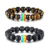 Mealguet Jewelry Pack of 2 Love is Love Bracelet LGBT Gay Pride Tiger's Eye Stone Beaded Rainbow Bracelets,Lava Rock Rainbow Gay pride bracelet
