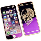 Dreams Mall(TM)Top Fashion Electroplating Mirror Effect with Skull Tempered Glass Screen Protector Film Decal Skin Sticker Front & Back for Apple iPhone 6 and 6S 4.7 inch-Purple
