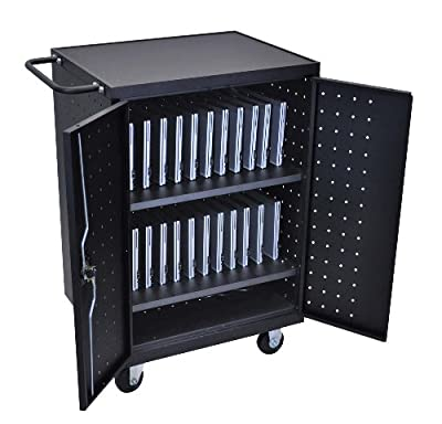 Luxor LLTP24-B Laptop, Tablet, Chromebook Charging Computer Cart made of Heavy Duty Steel