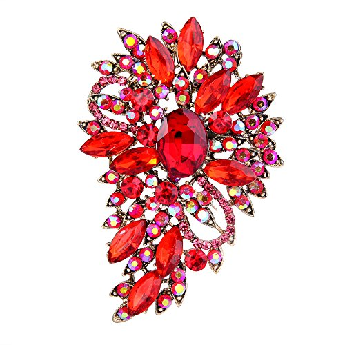 EVER FAITH Women's Austrian Crystal Wedding Flower Leaf Bouquet Brooch Red Gold-Tone