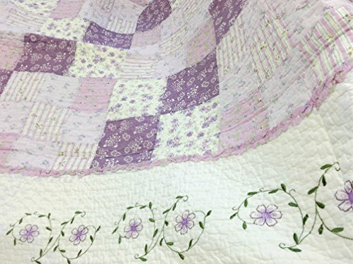 Cozy Line Home Fashions Love of Lilac Bedding Quilt Set, Light Purple Orchid Lavender Chic Lace Floral 100% Cotton Reversible Coverlet, Bedspread, Gifts for Girls Women (Lilac, King - 3 piece) by Cozy Line Home Fashions (Image #5)