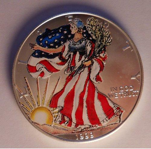 1999 Colorized American Silver Eagle 1oz Fine Silver One Dollar