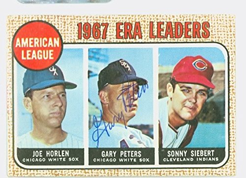 Gary Peters AUTOGRAPH 1968 Topps AL ERA Leaders #8 Chicago White Sox CARD IS G/VG; CRN WEAR, AUTO CLEAN