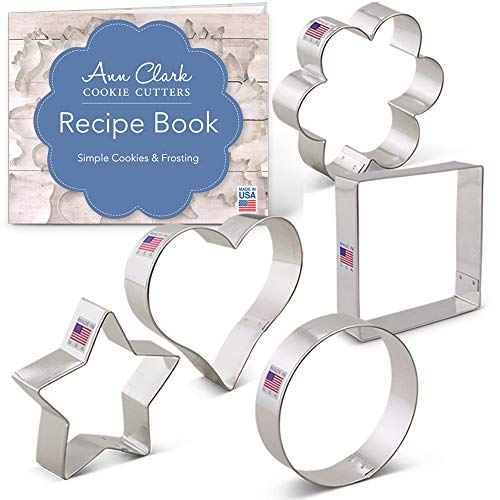 Cookie Cutter Basic - Basic Cookie Cutters Set with Recipe Book - 5 piece - Ann Clark - Tin Plated Steel