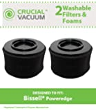 2 Bissell PowerEdge Washable Dust Cup Filter and Outer Foam Fits Bissell PowerEdge Hard Floor Vacuum 81L2, 81L2T, Replaces Bissell Part # 54A2, Designed & Engineered by Crucial Vacuum