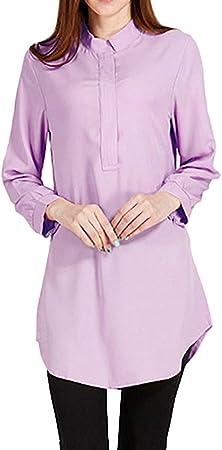 WODENINEK Camisa De Manga Larga Musulmana Color Caramelo Ocio Suelto Blusa Media Longitud Adecuado para El Cambio Climático,Purple,XS: Amazon.es: Hogar