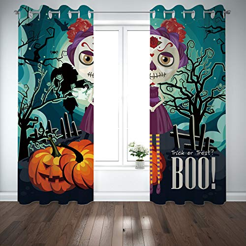 SCOCICI Grommet Polyester Window Curtains Drapes [ Halloween,Cartoon Girl Sugar Skull Makeup Retro Seasonal Artwork Swirled Trees Boo Decorative,Multicolor] Living Room Bedroom Kitchen Cafe