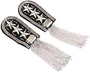 1 Pair Star Tassel Link Chain Epaulet Shoulder Boards Badge