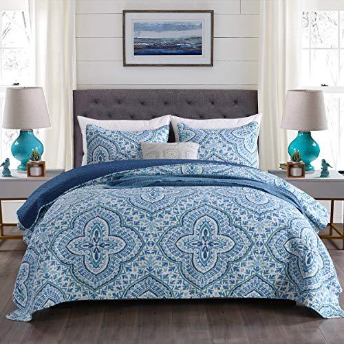Gravan 3-Piece Queen Quilt Sets with Shams Oversized Bedding Bedspread Coverlet Set (Turquoise Paisley Printed, Queen) (Turquoise Paisley)