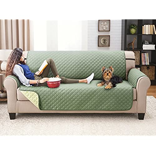 Beau Deluxe Reversible Sofa Furniture Protector, Olive / Sage