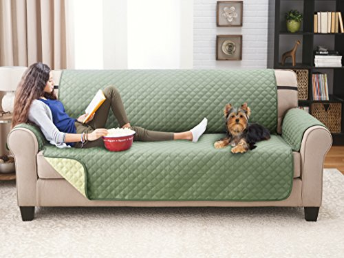 Sage / Olive Sofa Couch Cover For Dogs Deluxe Reversible Furniture Protector
