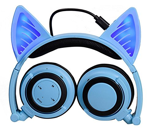 Eoncore Glowing Cat Ear Foldable Bluetooth Over-ear Headphones with Microphone Wireless Volume Control for PC iPhone TV iPad (Blue)