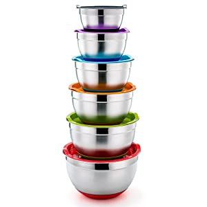 P&P CHEF Mixing Bowls With Lids, Set of 6 (12 Piece), Stainless Steel Nesting Mixing Bowls & Tight Fitting Lids & Non-Slip Silicone Bottom, 6 Multi Size (1/1.5/2.5/3/4/5qt)